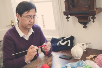 Amnesty Cardiff members Knit for Naz at Pettigrew Tea Rooms, Cardiff. May 2019